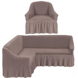 Чехол дымчатый на диван угловой с креслом