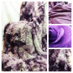 Меховой плед-покрывало рябчик фиолетовый