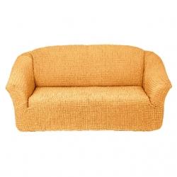 Чехол на диван на резинке без оборки персик