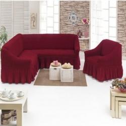 Чехол бордо на диван угловой с креслом