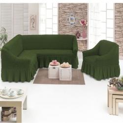 Чехол фисташка на диван угловой с креслом