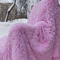 Плед с длинным ворсом нежно розовый